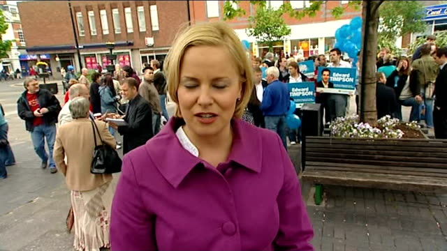 crewe and nantwich by-election: conservative victory; 23.5.08 ext reporter to camera - ナントウィッチ点の映像素材/bロール