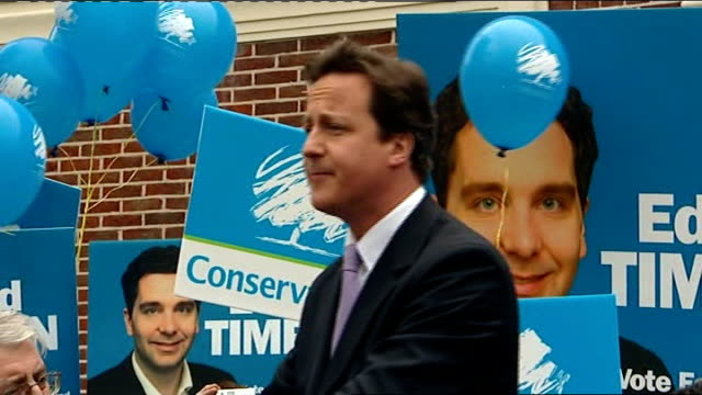 crewe and nantwich by-election: conservative victory; cameron speech sot - we don't want to win because labour is failing - ナントウィッチ点の映像素材/bロール
