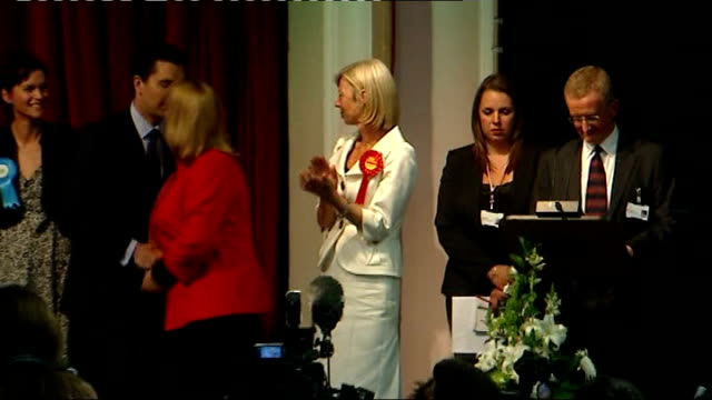 crewe and nantwich by-election: conservative victory; crewe: edward timpson on stage shaking hands with tamsin dunwoody after being elected new... - nantwich stock-videos und b-roll-filmmaterial