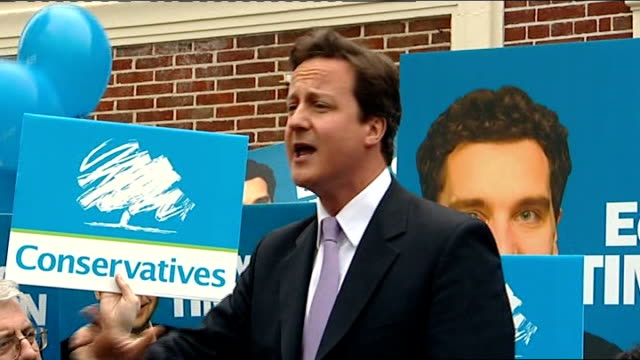 crewe and nantwich by-election: conservative victory; david cameron mp speech sot - the end of new labour - ナントウィッチ点の映像素材/bロール
