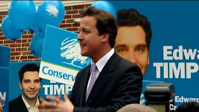 crewe and nantwich by-election: conservative victory; david cameron mp speech sot - ナントウィッチ点の映像素材/bロール