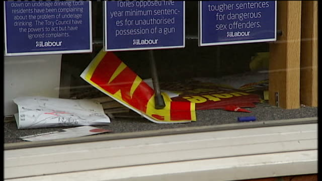 crewe and nantwich by-election: conservative victory; labour's crewe headquarters with election campaign posters seen on floor - ナントウィッチ点の映像素材/bロール