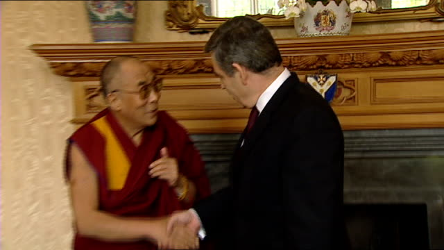 crewe and nantwich by-election: conservative victory; london: lambeth palace: int dalai lama shakes hands with gordon brown mp - ナントウィッチ点の映像素材/bロール
