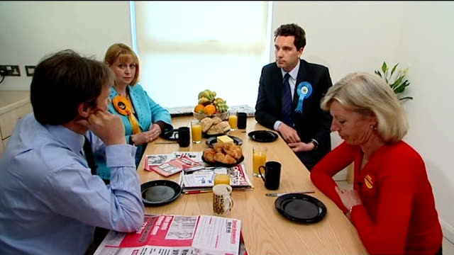 crewe and nantwich by-election; edward timpson interview sot dunwoody interview sot - ナントウィッチ点の映像素材/bロール