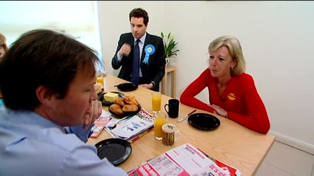 crewe and nantwich by-election; int bradby sitting for breakfast with three main candidates in crewe and nantwich by-election - tamsin dunwoody ,... - ナントウィッチ点の映像素材/bロール