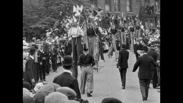 crewe hospital procession and pageant 1907 - stilts stock videos and b-roll footage