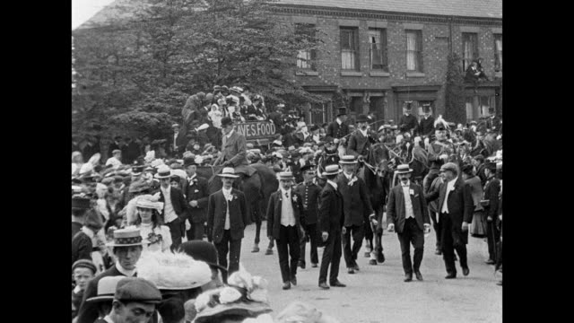 crewe hospital procession and pageant 1907 - edwardian style stock videos & royalty-free footage