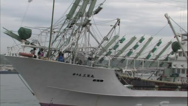 crewmen move about the deck of a saury fishing boat as it sails in hanasaki harbor. - 水産業点の映像素材/bロール