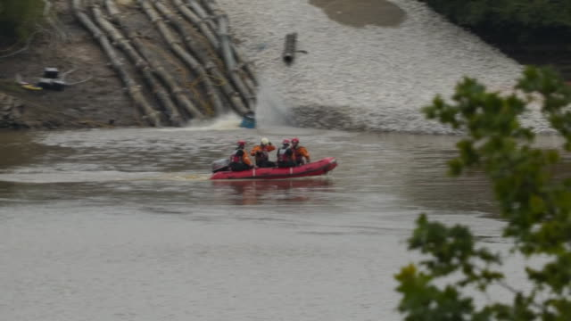 raf crews assisting at the site of the damaged toddbrook reservoir - nautical vessel stock videos & royalty-free footage