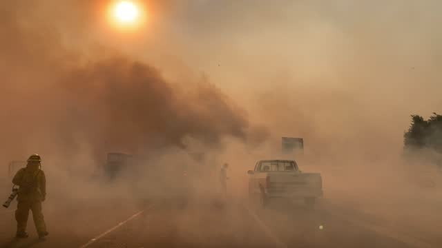 crews battle the silverado fire in irvine, ca, on monday, october 26, 2020. - irvine california stock videos & royalty-free footage