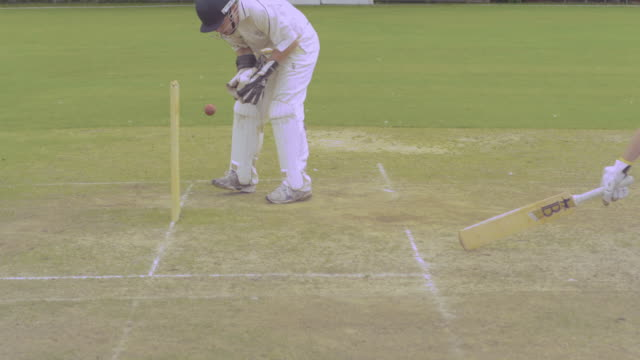 cricket, ball thrown from fielder out of frame hits the stumps directly and the batsman is run out - fielder stock videos & royalty-free footage