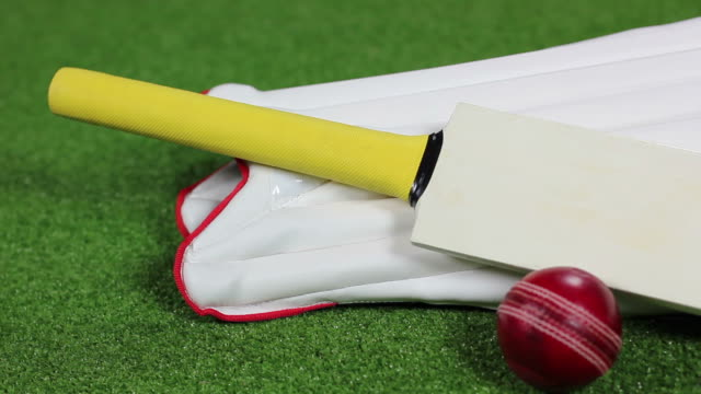cricket bat, ball & pads (equipment) hd and pal - sport of cricket stock videos and b-roll footage