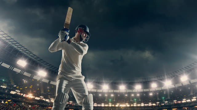 cricket batsman on the stadium - cricket video stock e b–roll
