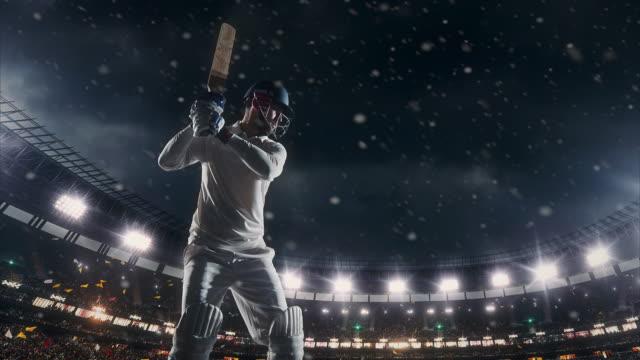 cricket batsman on the stadium - batsman stock videos & royalty-free footage
