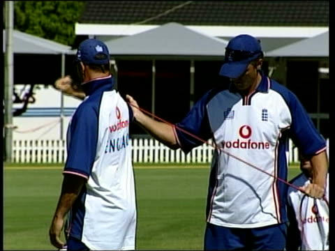 Cricket England v Zimbabwe match cancelled Armband protest ITN SOUTH AFRICA Cape Town EXT MS England cricketers along next team coach PAN GVs England...