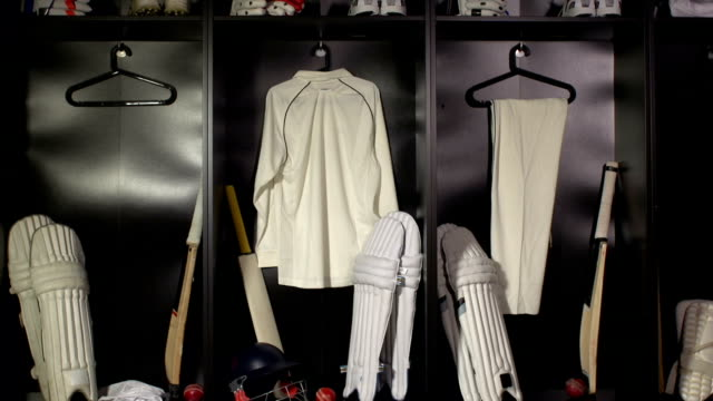 Cricket locker / changing room with Bat, DOLLY (Sport uniform)