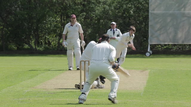 cricket match in baslow village, derbyshire, england, uk, europe - cricket video stock e b–roll