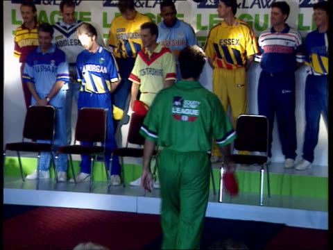 new sunday league coloured strips england london the oval ms players in new cricket colours along at 'fashion show' as bbc cricket prog theme played... - weichzeichner stock-videos und b-roll-filmmaterial
