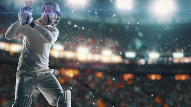 cricket player on professional cricket stadium - cricket stock videos & royalty-free footage