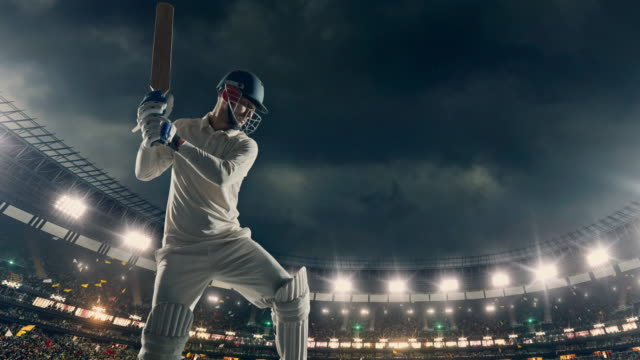 cricket player on the professional cricket stadium - cricket video stock e b–roll