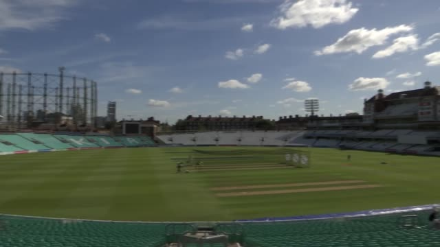 vídeos de stock e filmes b-roll de cricket stadium the oval eliminates single-use plastic; england: london: the oval: ext wide shot of the oval cricket ground wide shot of cricket... - utilização única