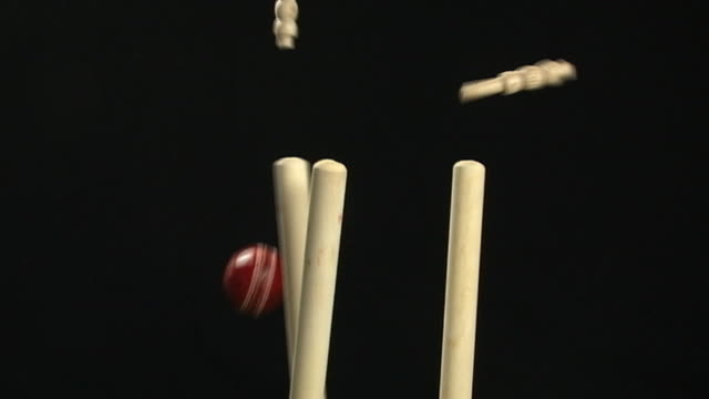 Cricket stumps, Wickets being bowled out with Ball (Sport)