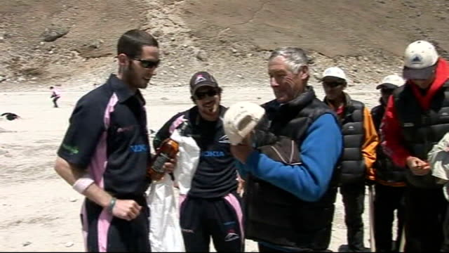 cricket team's mount everest mission day eight team members playing practice cricket match russell brice interview sot reporter to camera team... - cricket team stock videos and b-roll footage