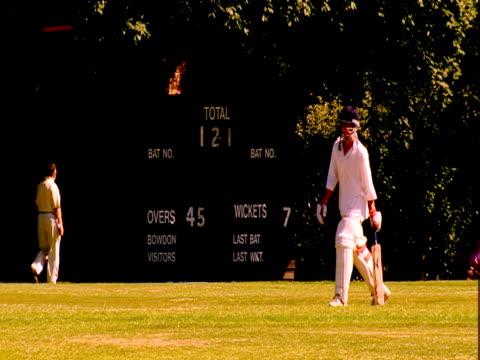 a cricket teams scores a point. - cricket tor stock-videos und b-roll-filmmaterial