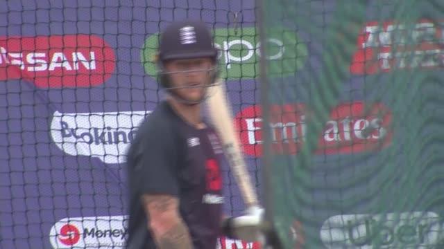 england v australia semifinal build up england birmingham edgbaston ext general views of england cricket team batting session - cricket team stock videos & royalty-free footage