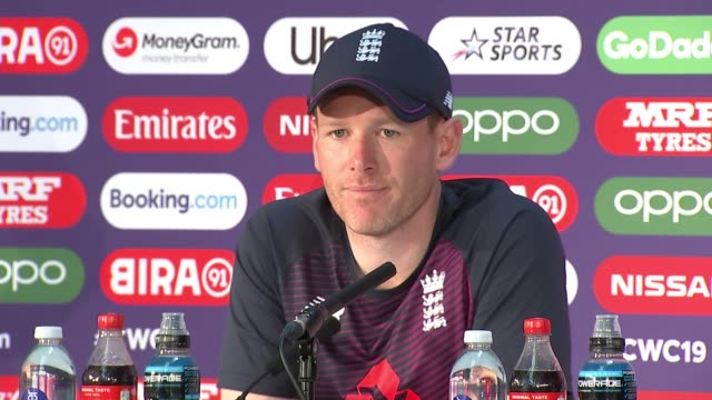 england v new zealand final build-up; uk, london; england cricket team training session, eoin morgan press conference, kane williamson press... - squadra di cricket video stock e b–roll