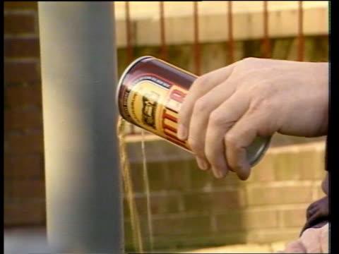 vídeos y material grabado en eventos de stock de drink ban england midlands coventry cms no drinking sign on pillar pull out as policeman sitting in van on side of raod lms two policemen standing in... - parabrisas