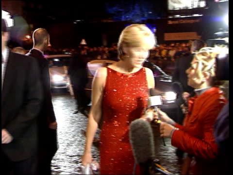 jill dando murder; itn lib england: london: night jill dando towards to speak to press as arriving at awards ceremony wearing red dress tx... - jill dando stock videos & royalty-free footage