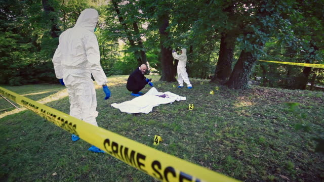 crime scene investigation - protective sheet stock videos and b-roll footage