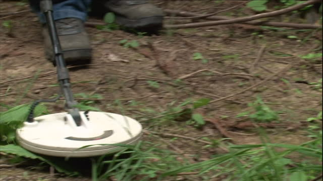 a crime scene investigator uses a metal detector to search a forest floor. - 金属探知機点の映像素材/bロール