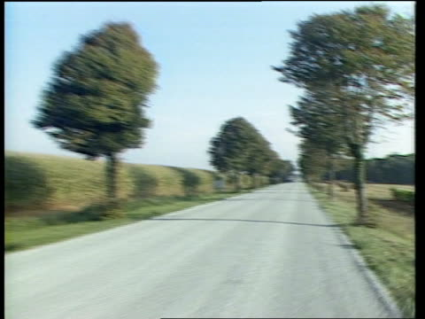 School Teachers Murders FRANCE Brittany FORWARD along treelined country road PAN LR as some traffic on road