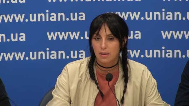 crimean tatar singer jamala who won the 61st annual eurovision song contest with the song 1944 speaks during a press conference ahead of the premiere... - 61st eurovision song contest video stock e b–roll