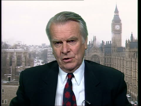 Slobodan Milosevic War Crimes Trial ITN ENGLAND London Lord Owen interviewed SOT I think it will be easier to prove Milosevic's guilt and that's...