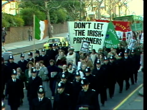 crime/politics maze hunger demo england london gts march and banners with police escort zoom in some in symbolic blankets of the hblock prisoners and... - northern ireland stock videos & royalty-free footage