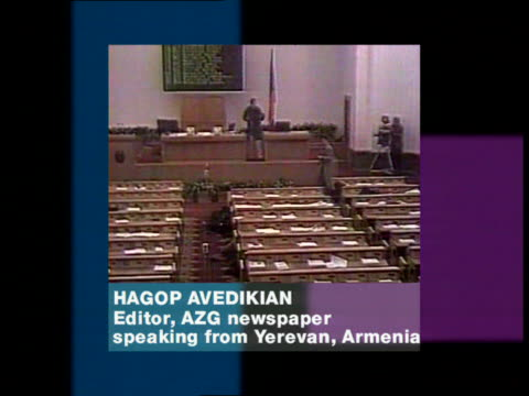 prime minister assassinated itn gunmen in armenian parliament as hagop avedikian phono interview overlaid sot the parliament now is surrounded by a... - politics and government stock videos & royalty-free footage