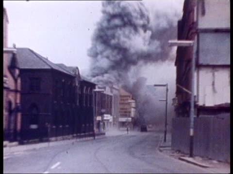 crime/terrorism ira apologise for civilian deaths lib northern ireland belfast gv smoke and debris from ira explosion on 'bloody friday' gv debris... - friday stock videos & royalty-free footage
