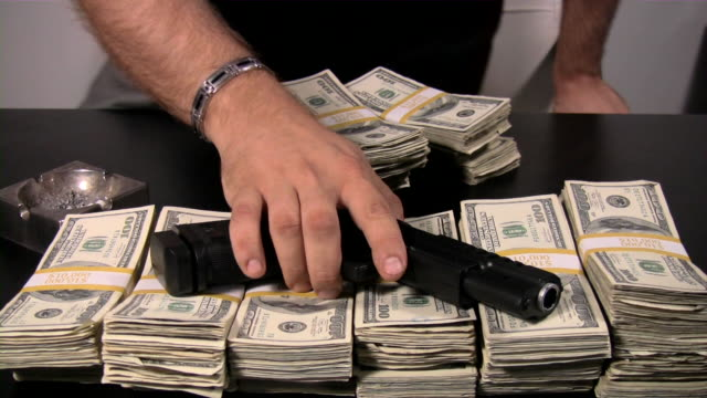 criminal activity, illegal transaction, crime, mafia.  us currency. cash. money. - mafia stock videos and b-roll footage