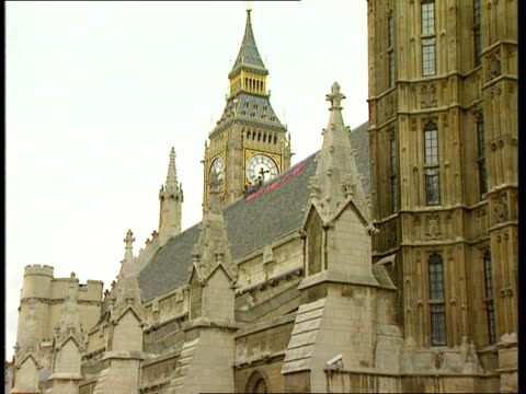 Parliament demo / Security ITN ENGLAND London Westminster House of Parliament Westminster Hall Five protestors sitting atop roof PAN LR banner on...