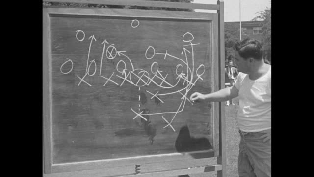 crimson tide coach frank thomas using blackboard to illustrate and explain play / coaches seated in stands / players slowly demonstrate a play on... - crimson tide stock videos & royalty-free footage