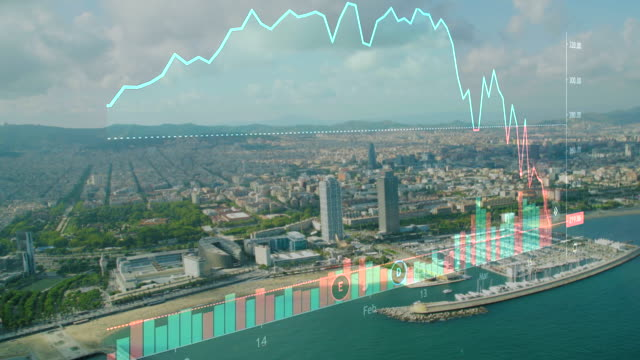 crisis at barcelona spain concept. actual stock market chart during coronavirus crisis. barcelona coastline aerial view on the background - barcelona stock-videos und b-roll-filmmaterial