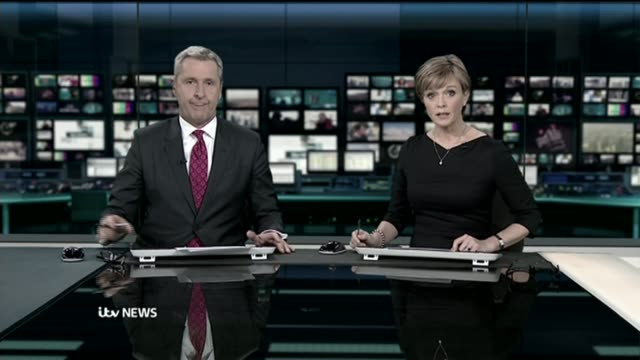 "crisis in the ambulance service: long delays in handover of patients to hospitals; astoned ""december 2014"" but is the evening news pab from 6th... - itv evening news stock-videos und b-roll-filmmaterial"