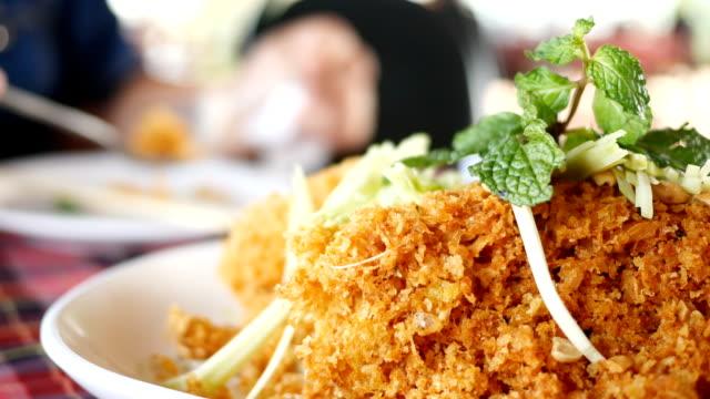 Crispy catfish salad with green mango