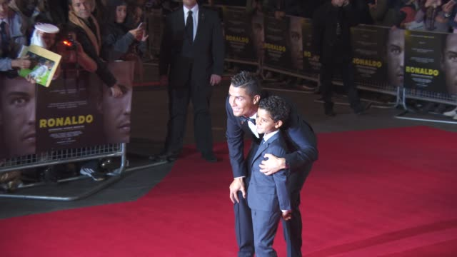cristiano ronaldo, cristiano ronaldo jr. at 'ronaldo' uk film premiere at vue west end on november 09, 2015 in london, england. - son stock videos & royalty-free footage