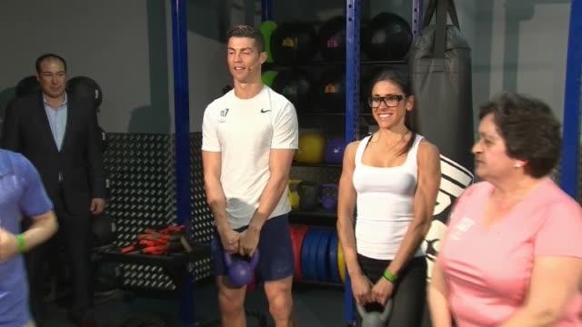 cristiano ronaldo's girlfriend georgina rodriguez attends the presentation of cr7 fitness gyms - 2017 stock-videos und b-roll-filmmaterial