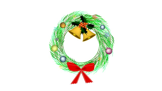 cristmas wreath of pine leaves with christmas decoration - wreath stock videos & royalty-free footage