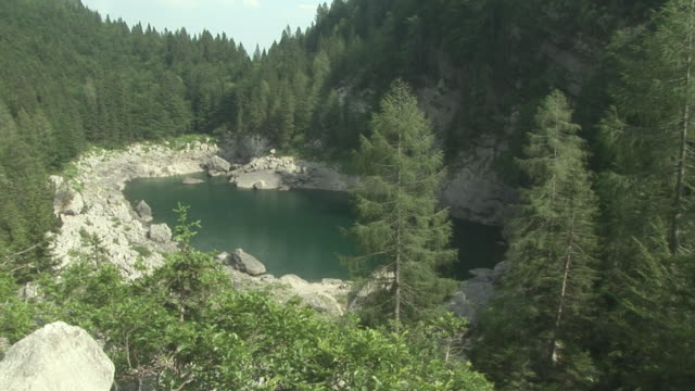 ws, ha, crno lake surrounded with rocks and evergreen trees, triglav lakes valley, triglav national park, gorenjska, slovenia - triglav national park stock videos and b-roll footage